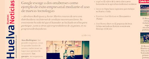 Intertaping.com articulo en el periodico huelva buenas noticias